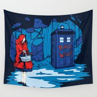bad wolf Wall Tapestries featuring Bad Wolf Tardis by Andrian Kembara