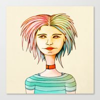 rasta Canvas Prints featuring Rasta Girl by IOSQ