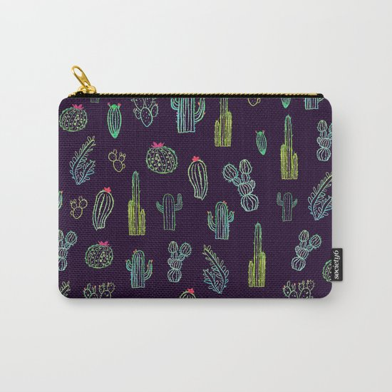 Dark Watercolour Cactus Carry-All Pouch