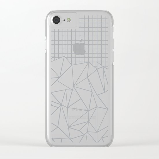 Abstract Outline Grid Grey Clear iPhone Case