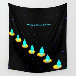 Happy Hanukkah, Chanukah, Menorah in the Dark Wall Tapestry