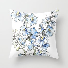 Blue Delphinium Flowers Throw Pillow
