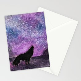 Spirit of the Night. Howling Wolf Orginal Watercolor Stationery Cards