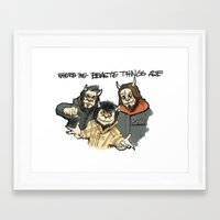 beastie boys Framed Art Prints featuring Where The Beastie Things Are by Derek Salemme