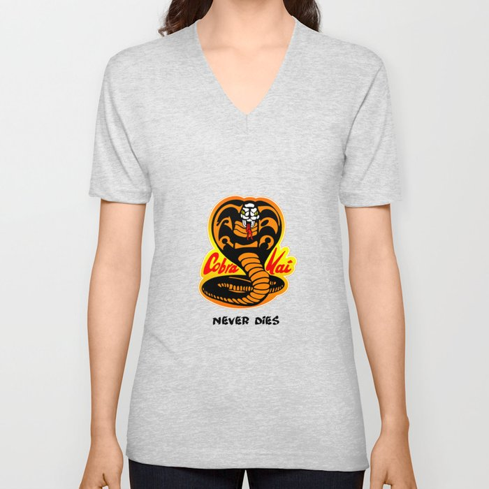 e67ddc58 Cobra Kai - Never Dies - Karate Kid Unisex V-Neck by w855173w | Society6