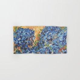 Blue Hydrangea Flowers 2, Blue Abstract, Modern Impressionism Painting Hand & Bath Towel