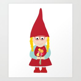 gnome girl with flowers Art Print