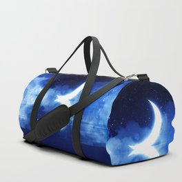 Crescent Moon over blue Starry Sky Duffle Bag