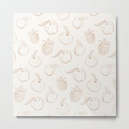Cute and nice fruits and berrywith raspberry, apple and plum Metal Print