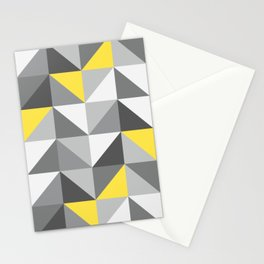Ultimate Gray Yellow geometrics Retro triangle check Stationery Cards