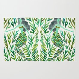 Kelp Forest Mermaid – Green Palette Rug