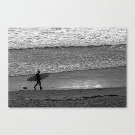 Surfer in Black and White Sunset Canvas Print