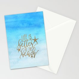 LIFE IS BETTER AT THE BEACH - Summer Ocean Sea Stationery Cards