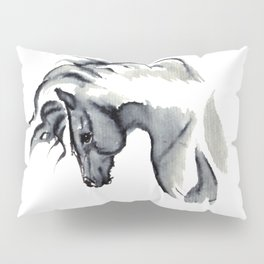 Gray Horse in ink Pillow Sham