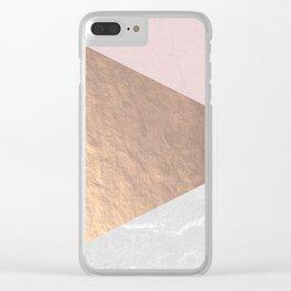 Geo tri - rose gold & concrete Clear iPhone Case