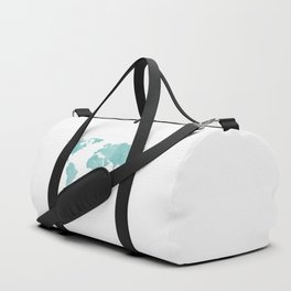 World Map - Teal Turquoise Watercolor on White Duffle Bag
