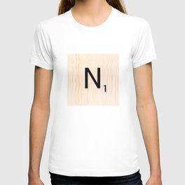 Scrabble Letter N - Large Scrabble Tiles T-shirt