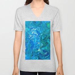 Elegant Crazy Lace Agate 2 - Blue Aqua Unisex V-Neck