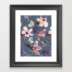 Butterflies and Hibiscus Flowers - a painted pattern Framed Art Print