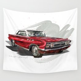 Red Old fashion Car Wall Tapestry