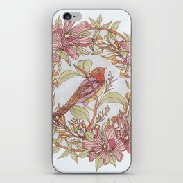 Magnolia And Marigold Wreath With Songbird iPhone Skin