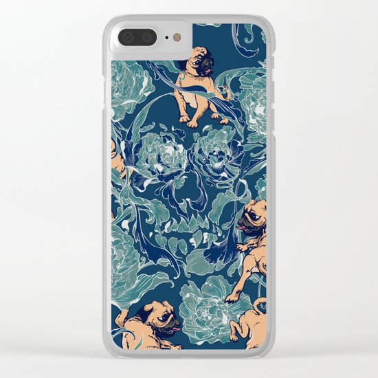 Climbing Pug & Floral Clear iPhone Case