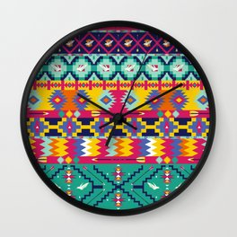 Seamless colorful aztec pattern with birds Wall Clock