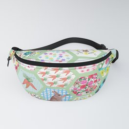 Spring Bunny Patchwork Fanny Pack