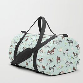 Floral Horse Pattern, Flowers and Horses, Hand Painted, Girl's Room, Romantic Blue Floral Duffle Bag
