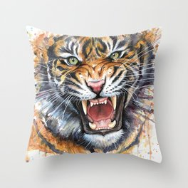Tiger Roaring Wild Jungle Animal Throw Pillow