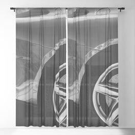 Super Car // Sexy Wheel Base Low Rims Dark Charcol Gray Black and White Sheer Curtain
