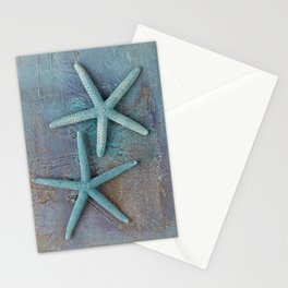 Turquoise Starfish on textured Background Stationery Cards