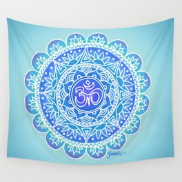Shades of Blue Ohm Mandala Wall Tapestry