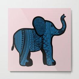 Pink and Blue zentangle Elephant Metal Print