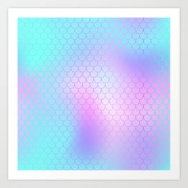 Turquoise Pink Mermaid Tail Abstraction Art Print