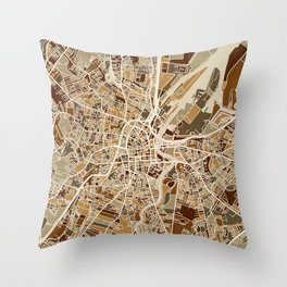 Belfast Northern Ireland City Map Throw Pillow