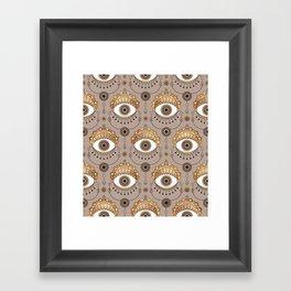 Gold Eyes Pattern Framed Art Print