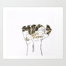 Golden hand Art Print