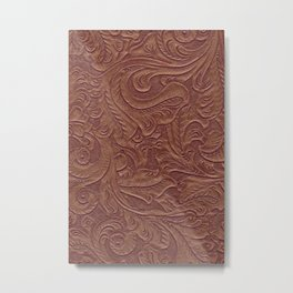 Chocolate Brown Tooled Leather Metal Print