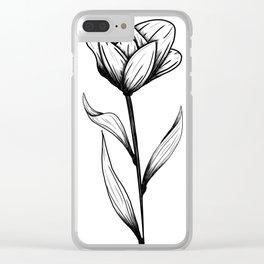 Lone Tulip Clear iPhone Case