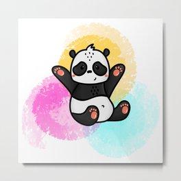 Collorful cute happy panda Metal Print