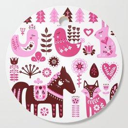 Raspberry And Cream Scandinavian Folk Art Forest Friends Cutting Board