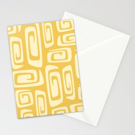Mid Century Modern Cosmic Abstract 514 Yellow On Yellow Stationery Cards