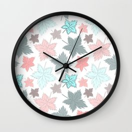 Maple Leaves - Pastel Pattern Wall Clock