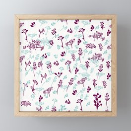 Rustic floral pattern in blue and purple colors Framed Mini Art Print