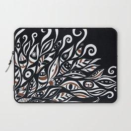 Doodle White Ink Black Paper Bohemian Laptop Sleeve