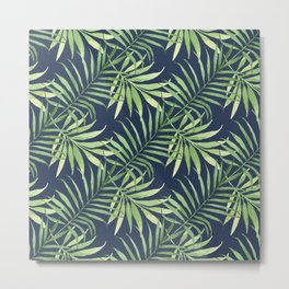 Tropical Branches on Dark Pattern 05 Metal Print