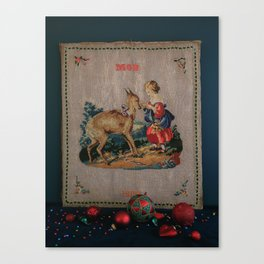 Sweet Antique Sampler about Love, Girl Feedig a Roe Deer. Made in 1892 Canvas Print
