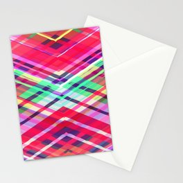 Modern Pink Tribal Plaid Stationery Cards