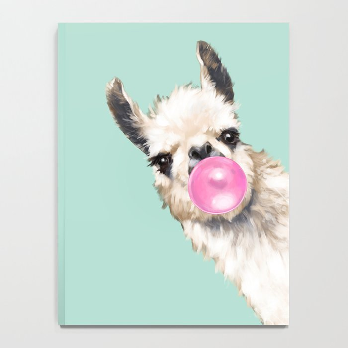 Bubble Gum Sneaky Llama in Green Notebook